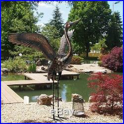 Metal Bronze Crane Statue Sculpture Garden Patio Porch Yard Lawn Art Accent Lawn
