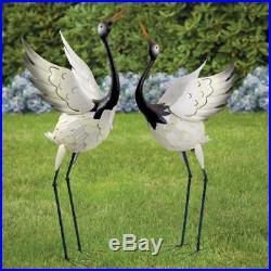 Metal Crane Statue Sculpture Garden Bird Set Yard Art Decor Lawn Outdoor Patio