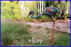 Metal Crane Statue Sculpture Garden Bird Yard Art Decor Lawn Home Outdoor Porch