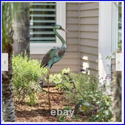 Metal Crane Statue Sculpture Garden Bird Yard Decor Lawn Outdoor Patio Home Deck