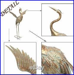 Metal Crane Statue Sculpture Indoor Bird Art Decor Office Home Heron Modern Yard