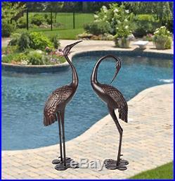 Metal Cranes for Yard Garden Sculpture Pair Statue Upright and Preening Crane