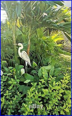 Metal Egret Statue Sculpture Garden Bird Yard Art Decor Lawn Home Crane Porch