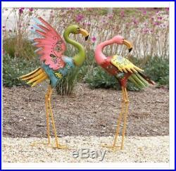 Metal Flamingo Garden Outdoor Sculpture Decor Yard Lawn Set of 2 Statue Ornament