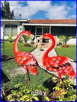 Metal Flamingo Statues Sculptures Garden Birds Yard Art Decor Lawn Home Outdoor