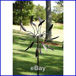 Metal Garden Leaves Twirler Wind Spinner 84in Yard Stake Lawn Decor Sculpture