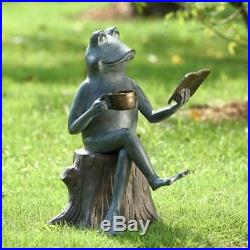 Metal Garden Sculpture'Joy of Reading' Frog on Tree Stump Yard Statue 15H