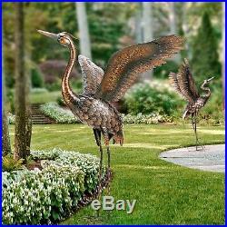 Metal Heron Crane Statue Sculpture Garden Patio Porch Yard Lawn Art Accent Lawn
