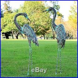 Metal Heron Statue Sculpture Garden Bird Yard Art Decor Lawn Solar Outdoor Patio