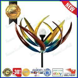Metal Kinetic Wind Spinner Solar Garden Sculpture Yard Art Large Windmill Decor