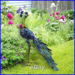 Metal Peacock Garden Decor Sculpture Yard Lawn Patio Art Home Statue Ornament
