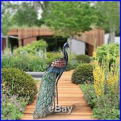 Metal Peacock Garden Decor Sculpture Yard Lawn Pond Patio Art Home Statue Porch