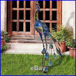 Metal Peacock Garden Decor Sculpture Yard Lawn Porch Statue Home Ornament Large