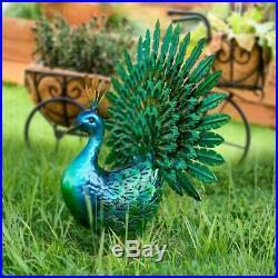 Metal Peacock Garden Decor Sculpture Yard Lawn Solar Art Home Statue Set of 2