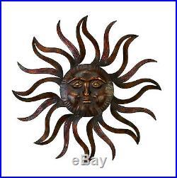 Metal Sun Face Decor Sculpture Wall Art Patio Fence Deck Porch Yard Home Office