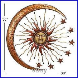 Metal Wall Art Sun Moon Stars Decor Art Large Celestial Yard Hang Indoor Outdoor