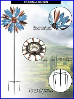 Metal Wind Mill Spinner Lawn Kinetic Garden Decor Patio Stake Yard Art Sculpture