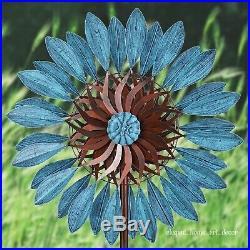 Metal Wind Spinner 7' Windmill Blue Daisy Sculpture Garden Lawn Yard Kinetic Art