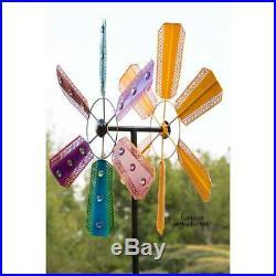 Metal Wind Spinner Kinetic Tall Lawn Flower Beads Garden Windmill Yard Sculpture