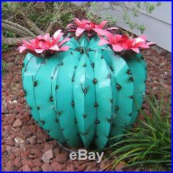 Metal Yard Art Barrel Cactus With Flowers Sculpture 20 Diameter Aqua