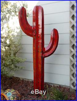 Metal Yard Art Saguaro Cactus Sculpture 52 (4' 4) Tall Red