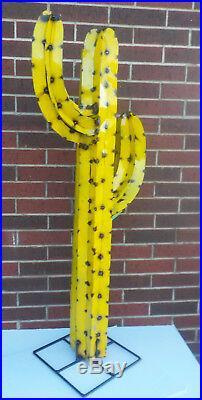 Metal Yard Art Saguaro Cactus Sculpture 52 (4' 4) Tall Yellow