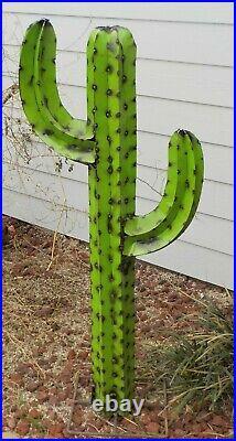 Metal Yard Art Saguaro Cactus Sculpture 54 Tall Lime Green