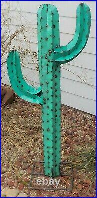 Metal Yard Art Saguaro Cactus Sculpture 54 Tall Teal