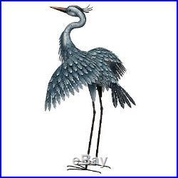 Metallic Blue Heron Sculpture Wings Out Large Garden Stake Metal Yard Art 41
