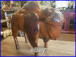 Mexican Recycled Distressed Metal Garden Yard Art Brown Bison