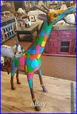 Mexican Recycled Distressed Metal Garden Yard Art Multi Color Giraffe Xtra Large