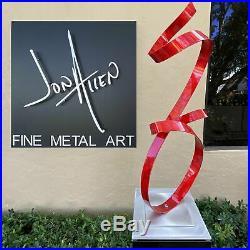 Modern Metal Sculpture VIBRANT RED Yard Art Indoor Outdoor Decor by Jon Allen