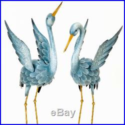 New Blue Heron Statues Crane Bird Sculpture Outdoor Metal Yard Art Lawn Decor