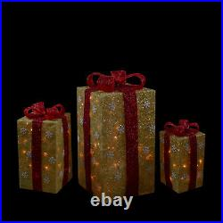 Northlight 3 Lighted Tall Gold Sisal Gift Boxes Christmas Yard Decors
