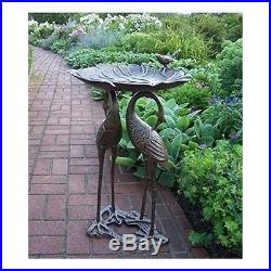 Ornate Metal Bird Bath Garden Statues And Sculptures Crane Heron Bird Yard  Art