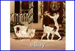 Open box Pre-Lit 200 lights White 60in Reindeer 44in Sleigh Sculpture Yard Decor