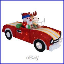 Outdoor Christmas Decor Tinsel Santa and Reindeer Convertible Car Yard Sculpture