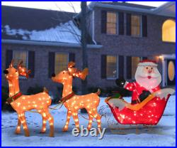 Outdoor Christmas Decorations Santa with Sleigh Yard lawn Roof Lighted Display