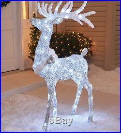 Outdoor Cool White Twinkling Buck Deer Sculpture Lighted Christmas Yard Decor