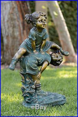 Outdoor Garden Statue Resin Children Playing Girl Boy Sculpture Patio Yard Decor