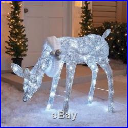Outdoor Lighted 42 Cool White Twinkling Doe Deer Christmas Yard Lawn Decoration