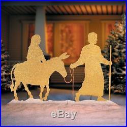 Outdoor Mary & Joseph Gold Silver Metal Silhouette Yard Art Christmas Yard Decor