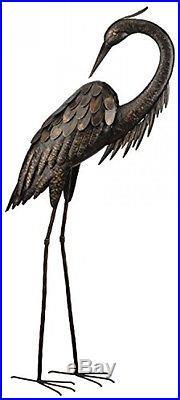 Outdoor Metal Garden Statue Bird Yard Art Sculpture Decoration Standing Heron