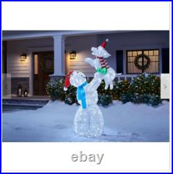 Outdoor Snowman Christmas Decor Lights Yard Sculpture Display Puppy Figurine