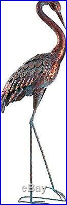 Patina Heron Statue Sculpture Garden Bird Yard Art Decor Lawn Home Crane Porch