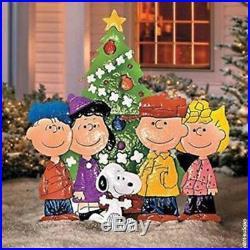 Peanuts Gang Outdoor Christmas Metal Yard Art Charlie Brown Lawn Sculpture Decor