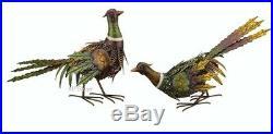 Pheasant Bird Pair Garden Statues Handcrafted Metal Sculptures Yard Fall Decor