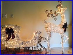 Pre-Lit 200 clear lights White 60 in Reindeer 44 in Sleigh Sculpture Yard #1