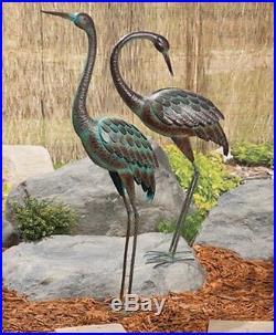Preening Metal Crane Large Standing Patina Look Garden Decor Yard Art Pond Bird