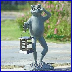 Professor Frog LED Garden Lantern Statue Solar Powered Light Yard Sculpture 21H